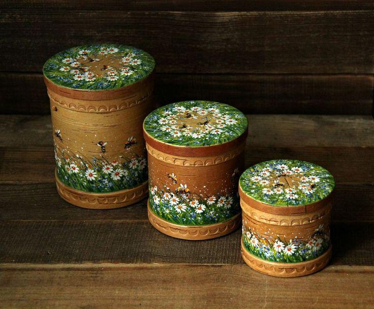 """Купить Набор баночек """"Пчелы на лугу"""" - зеленый, банка для сыпучих, баночки для специй, для дома и интерьера"""