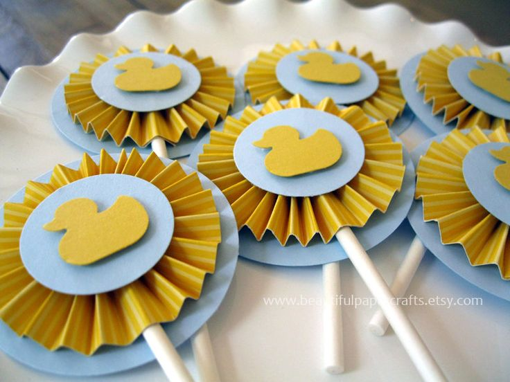 Duck Baby Shower With Rosettes   Yellow And Gray Baby Shower Duck   Rubber  Duck