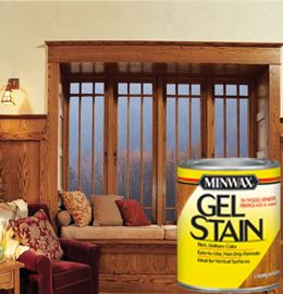 Minwax® Gel Stain is specifically designed to give you full control over the staining process and help you achieve beautiful results. The unique non-drip formula makes application easy and delivers uniform color even on hard-to-stain woods.  Apply with cloth or foam applicator, clean with mineral spirits.