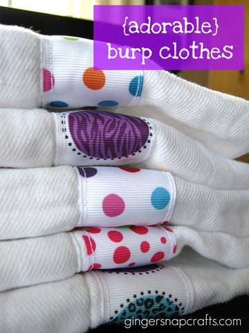 Easy DIY burp clothes with ribbon! https://www.retailpackaging.com/categories/74-everyday-specialty-ribbon #baby #crafts #decorate