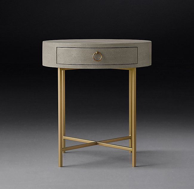 Cela Shagreen Round Bedside Table Bedside Table Round Round