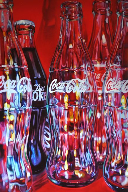 Oil on Canvas by Kate Brinkworth (1977) Five Coke Bottles