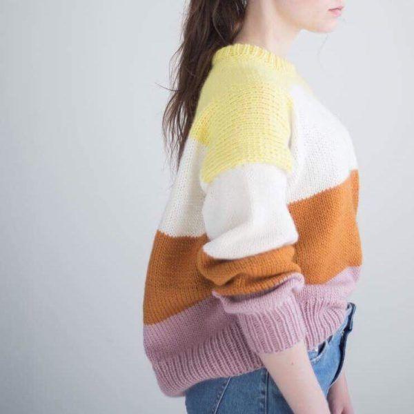 Lilja genser   Genser med striper garnpakke av HipKnitShop