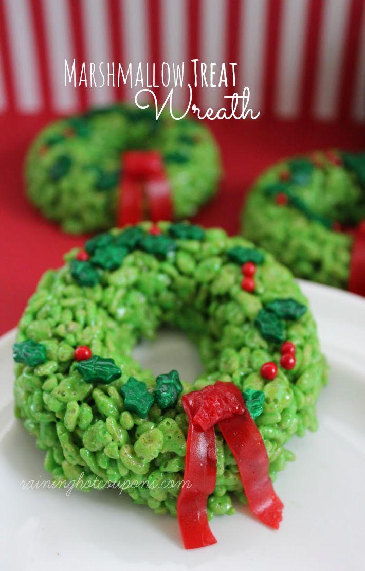 Marshmallow Treat Wreath Christmas Neighbor Gift treat Rice Krispies treat
