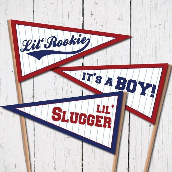 Instant download of these free baseball baby pennant flags to add a little fun detail to your a baseball themed baseball shower.