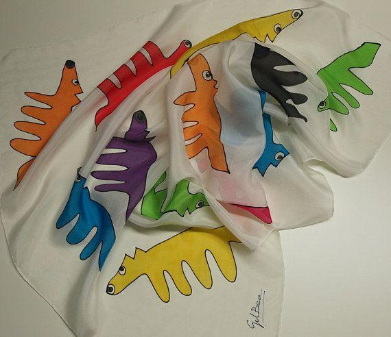 Hand geschilderd Silk mini Hand beschilderde zijde sjaal - Silk mini sjaal - vrouw sjaal 27.5x27.5 sjaal met kleine vossen