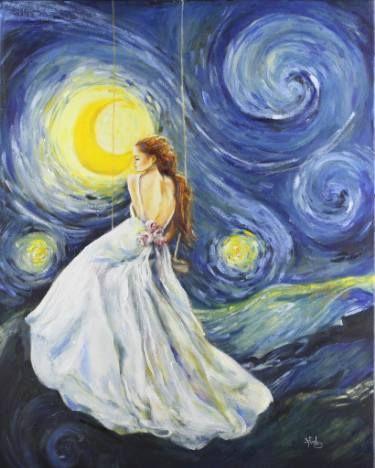 "Saatchi Art Artist Sara Riches; Painting, ""My Starry Night"" #art"