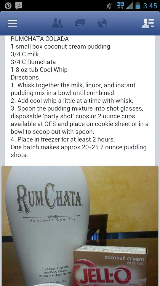 Rum Chata Pudding Shots personally, I would use vanilla or chocolate or maybe even cheesecake pudding for these.