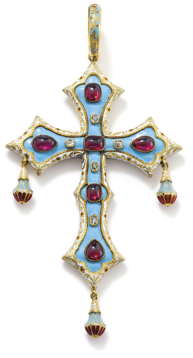 A rubellite and enamel cross pendant  The opaque light blue enamel ground collet-set to the front with vari-shaped cabochon rubellites and s...