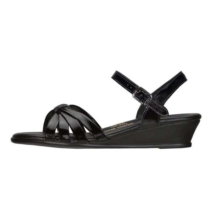 """San Antonio Shoemakers """"Strippy"""" patent black dress sandal. Contoured footbed and arch support."""