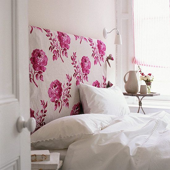 patterned headboard: Headboards Ideas, Diy Headboards, Pink, Guest Rooms, Upholstered Headboards, Homemade Headboards, Bedrooms Ideas, Floral Headboards, Fabrics Headboards