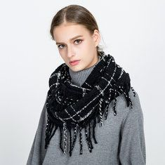 Winter Warm Thick Collar Ring Scarf With Tassel For Women Outdoor Windproof Scarves online - NewChic Mobile