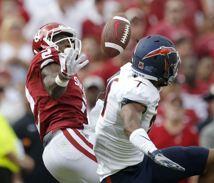 Oklahoma's Jeff Badet (2) makes a juggling catch beside UTEP's Kahani Smith (24) during a college football game between the Oklahoma Sooners (OU) and the University of Texas at El Paso Miners (UTEP) at Gaylord Family-Oklahoma Memorial Stadium in Norman, Okla., Saturday, Sept. 2, 2017. Photo by Bryan Terry, The Oklahoman