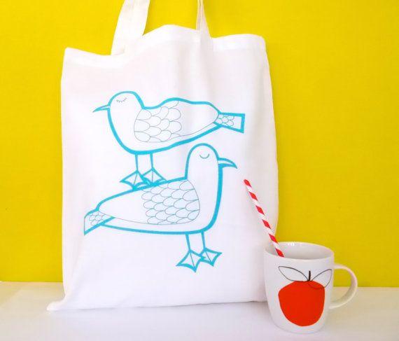 New Screen Printed Seagulls shopper Bag by Jane Foster - beach nautical summer
