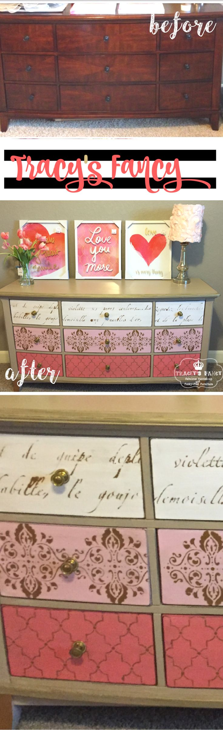 Pink & Gold Dresser with mixed gold stencils | DIY Furniture Makeover by Tracey's Fancy | Furniture Painting Tips & Gorgeous Paint Combos