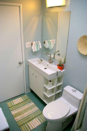 Great tiny bathroom with IKEA Lillangen sink.