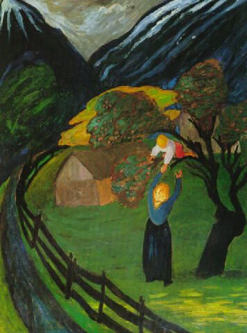 "The Apple Tree (1908) by Marianne von Werefkin (1860 O.S.-1938), Russian/Swiss - Was an Expressionist artist and worked for a time in Germany, helping to found a new group in 1909, the Neue Künstlervereinigung München (New Association of Artists in Munich, NKVM). Werefkin immigrated to Switzerland where she painted many colorful, landscapes in an expressionist style. In 1924 she founded the artist group ""Großer Bär"" (i.e., Big Bear, Ursa Major) (wiki) - (mariannevonwerefkin.de)"