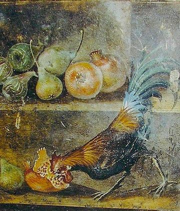Pompeii mural of a rooster eating a pomegranate, before 79 A.D.