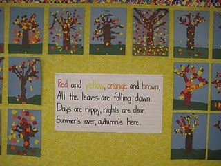 Love making these torn paper trees every year. Great fine motor skill practice, and they look so pretty on the wall - Fall Poem and Craftivity