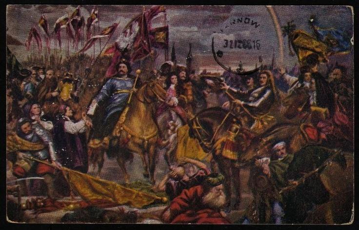Husaria Jan III Sobieski pod Wiedniem Stara Pocztówka Odsiecz wiedeńska