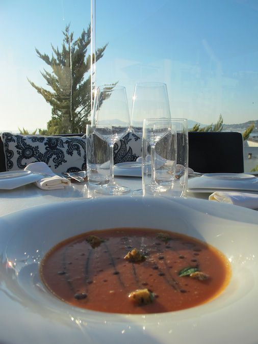 Tomato gazpacho with basil, balsamic & multigrain croutons
