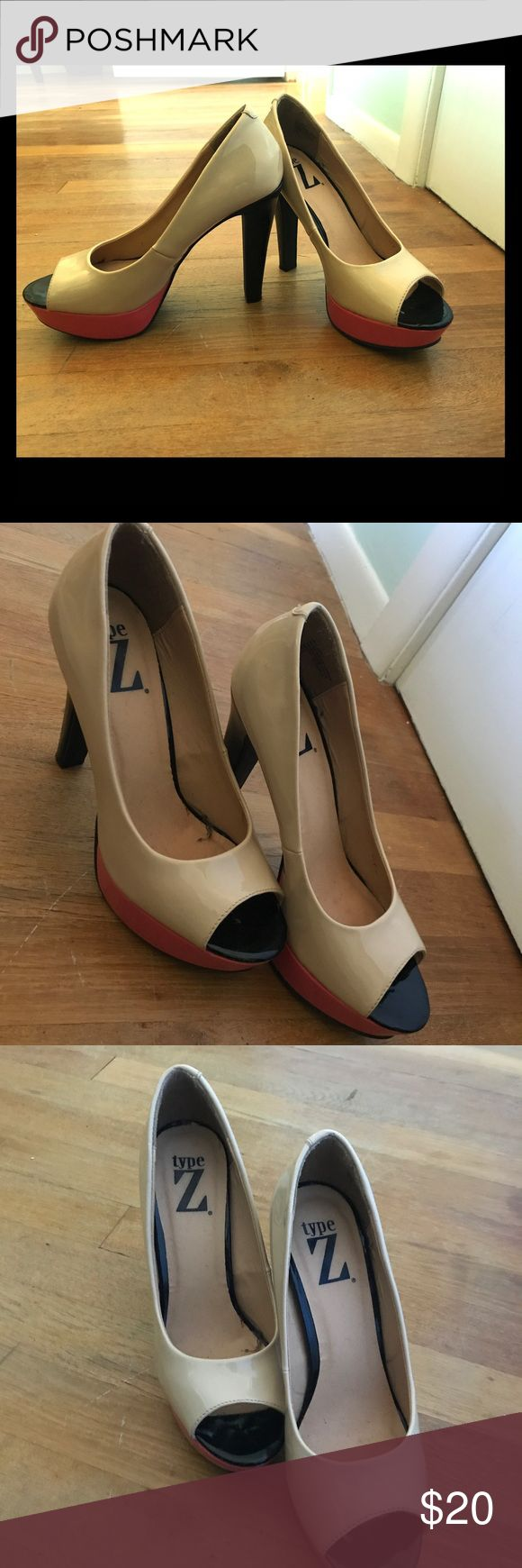Color block pumps! Type Z color block peep toe pumps! These are great with a cream, black and salmon color block design. Heels are high at about 5-6 inches. Minimally worn. Type Z Shoes Heels