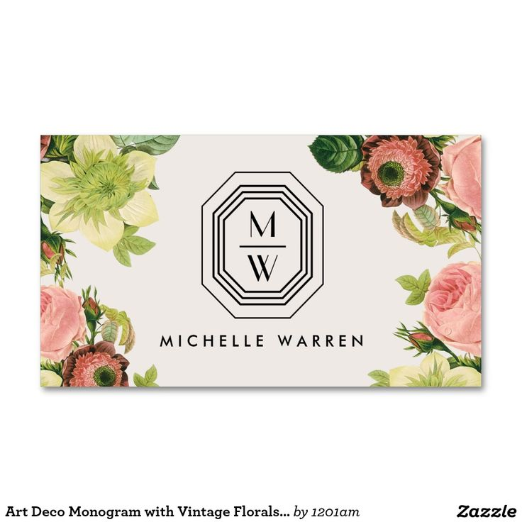 Art Deco Monogram with Vintage Florals Customizable Business Card for Floral Designers, Makeup Artists, Interior Designers, Salons, Cosmetologists, Style Bloggers and more.