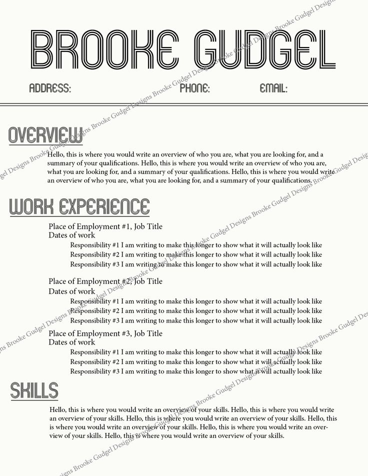 retro resume contact brookegudgel rush