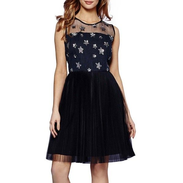 Yumi Embellished Star Mesh Dress ($92) ❤ liked on Polyvore featuring dresses, embellished cocktail dresses, blue sparkly dress, flare cocktail dress, flare dresses and blue evening dresses