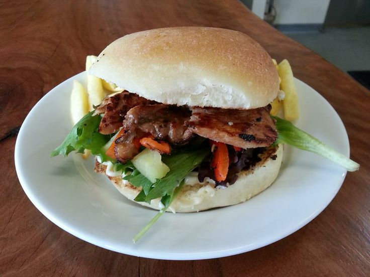 teriyaki chicken burger with lettuce, roast capsicum, pineapple and japanese mayo