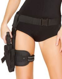 Gun Leg Holster with Belt - Police Costumes