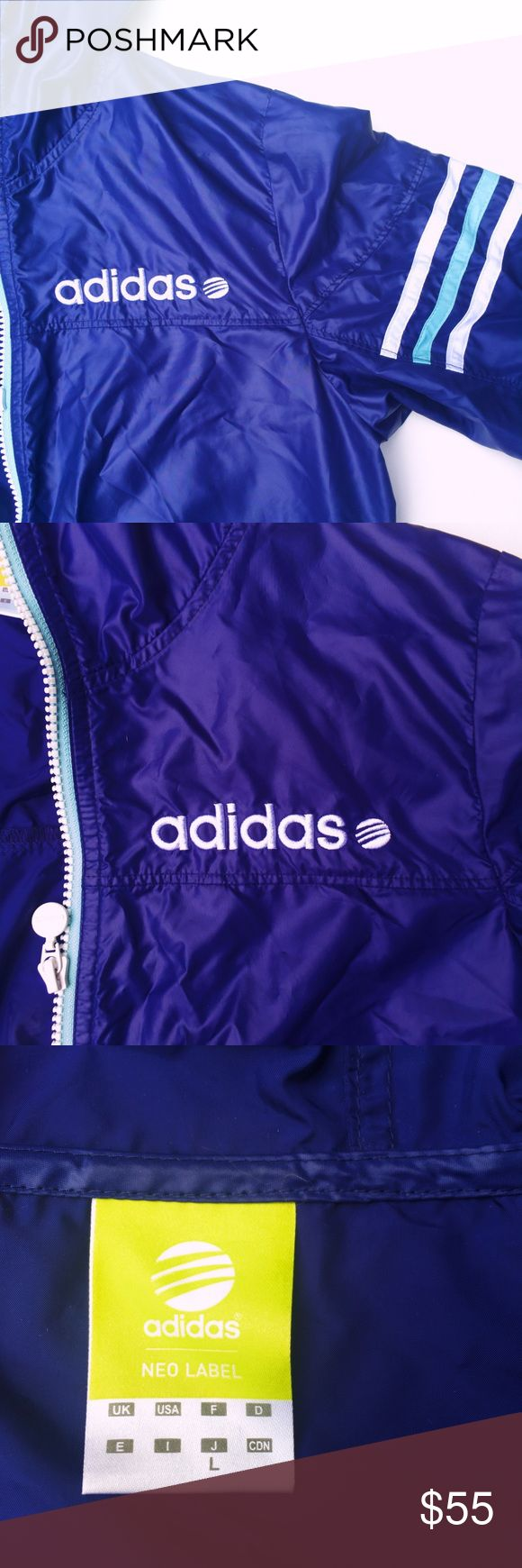 "RARE Adidas WindBreaker Purple, Blue, Pink Neon ⭐️ This gorgeous purple Adidas windbreaker is made of a light material so it is perfect for a cool day! It is purple with pink and blue zippers, a zip up hood, and the sleeves have a blue lining on the edge and the bottom edge has a pink lining.  it also has blue and white stripes on the upper sleeves. it has a neo label and says ""L"" which i think means large, but it fits like a small!  no visible flaws! Adorable!!! Make offers! :) adidas…"