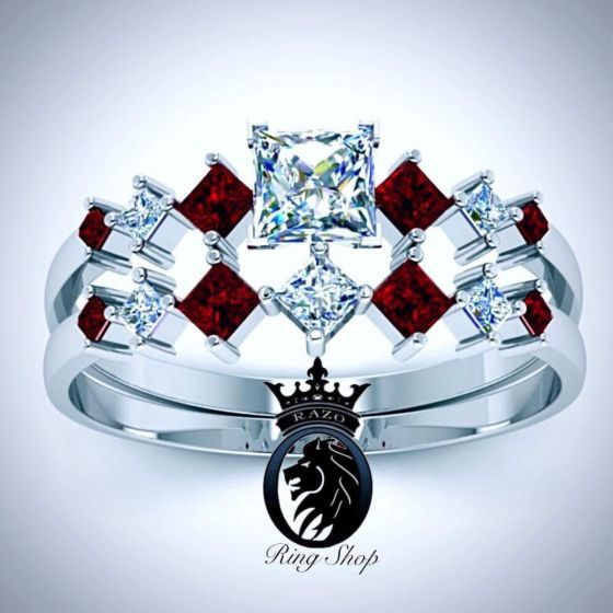 White Gold Ruby Harley Quinn Engagement Set