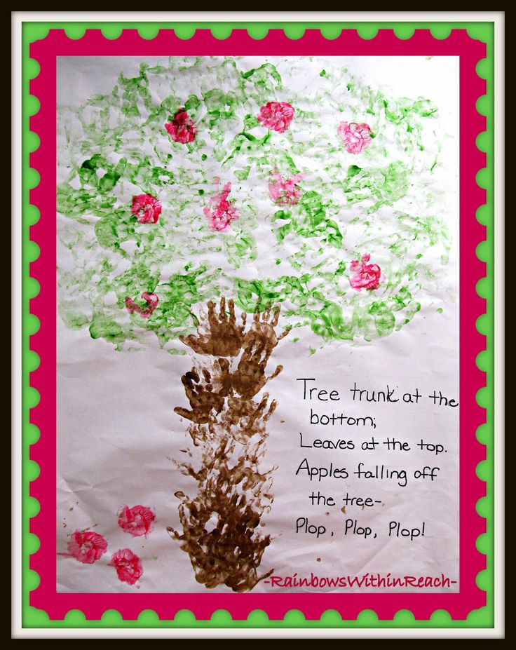 Back to School Bulletin Board on Apple Theme: Cooperative Art Project with Painted Handprints and Rhyme