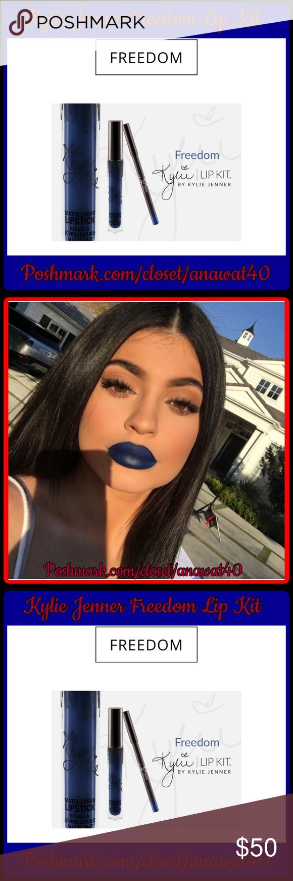 Kylie Jenner Freedom KylieLipKit by Kylie Jenner |Freedom Contains:1 Matte Liquid Lipstick(0.11 fl oz./oz. liq / 3.25 ml)and1 Pencil Lip Liner(net wt./ poids net .03 oz/ 1.0g)The #KylieLipKit is your secret weapon to create the perfect 'Kylie Lip.' Each Lip Kit comes with a Matte Liquid Lipstick and matching Lip Liner.Freedom is a rich navyblue. This ultra-long wearing lipliner has a creamytexture that glides across the lips for a very easy and comfortable application. Kylie…