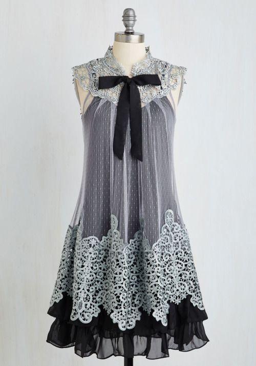 grey | cream  kawaii otome kei gyaru mori kei lolita fachin dress lace bow modcloth