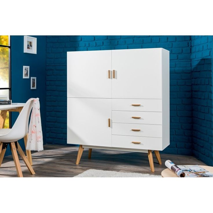 bahut contemporain en mdf laqu de design scandinave coloris blanc bahut buffet bar. Black Bedroom Furniture Sets. Home Design Ideas