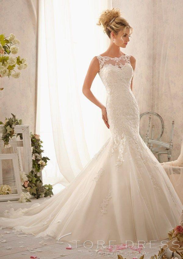 Train Trumpet / Mermaid Chapel Ruffles Wedding Dress 2014 Style at Promgirlshop.com