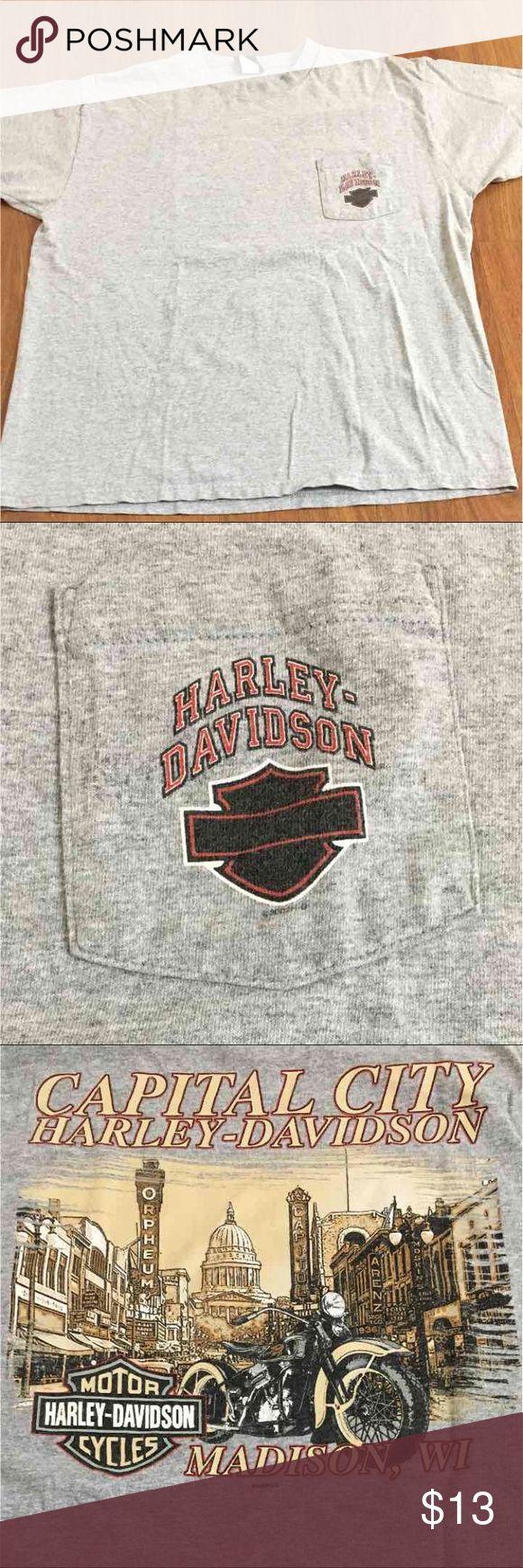 Men's Harley Davidson shirt 2XL Men's gray Harley Davidson t shirt with front pocket. Has design on the back. In great condition Harley-Davidson Shirts Tees - Short Sleeve