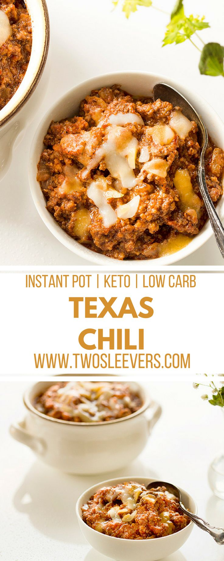 Instant pot low carb chili recipe. Keto friendly.| Two Sleevers #instantpotchili #chilirecipe #instantpotdinner