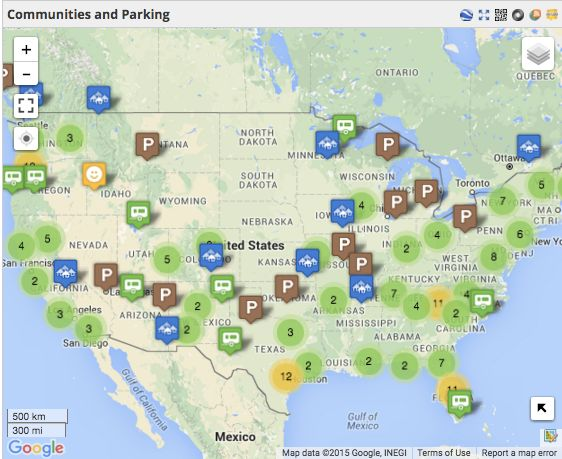 map of communities and tiny house parking