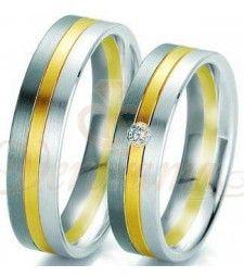 Βέρες γάμου τρίχρωμες με διαμάντι Breuning 6125-6126