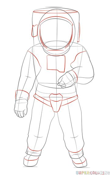 How to draw an astronaut   Step by step Drawing tutorials