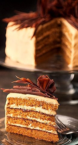Pumpkin Cake with Salted Caramel Cream Cheese Frosting & Chocolate Garnish