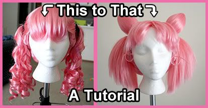 Chibimoon wig tutorial - great advice on buns (esp of irregular shapes), straightening, and ponytailing