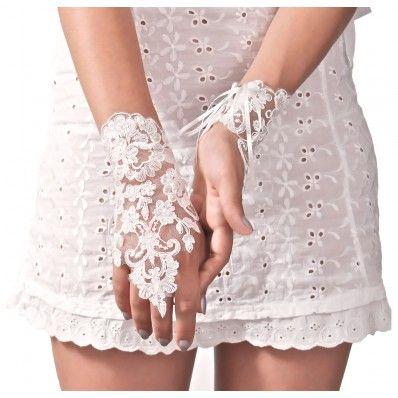 Arya Italian Jewels - Bridal Lace Short Gloves with Bow - Guanti da Sposa Corti in Pizzo con Fiocco