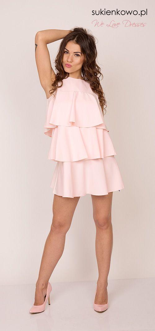 Awangardowa sukienka w falbany różowa Fendi