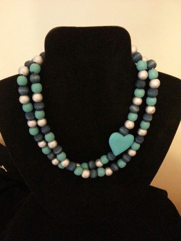 Wooden beads with heart