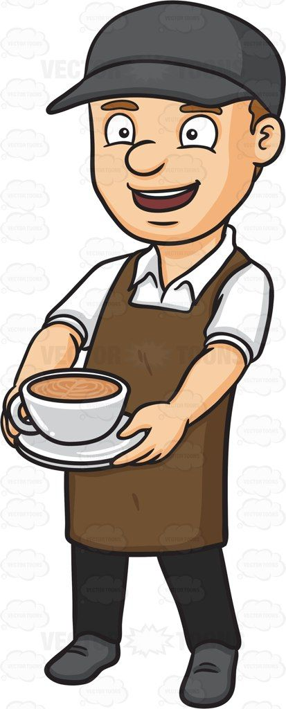 A male barista serving a mug of hot chocolate #cartoon #clipart #vector #vectortoons #stockimage #stockart #art