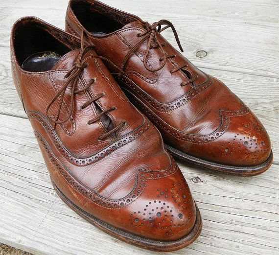 Men's Dark Brown Oxford Dress Shoes Size 9 by VintageRainbowShop, on Etsy